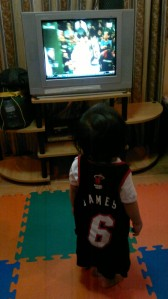 Timmy watching NBA highlights :)