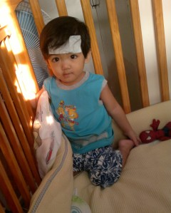 Our little trooper fighting the high fever.