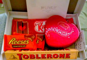 Chocolates from my honey! :) Actually, the card was the sweetest of all. :)