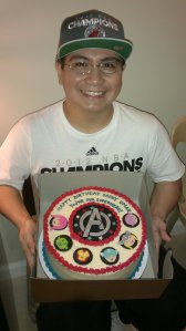 Honey with his superhero cake :)